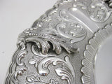 FINE 925 STERLING SILVER HAND MADE SWIRL CHASED LEAF APPLIQUE CORDELIA PLATE