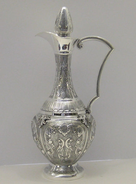 925 STERLING SILVER HAND CHASED LEAF APPLIQUES LARGE MARTEL WINE DECANTER