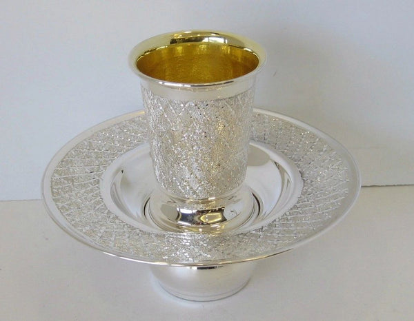 FINE 925 STERLING SILVER HANDMADE DIAMOND CUT MAYIM ACHRUNIM CUP & BOWL