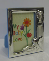 FINE ITALIAN 925 SILVER BABY BOTTLE PACIFIER BLUE KIDS PICTURE FRAME
