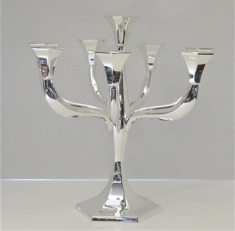 925 STERLING SILVER HANDMADE CONTEMPORARY SLEEK HEXAGON EIGHT LIGHT CANDELABRA