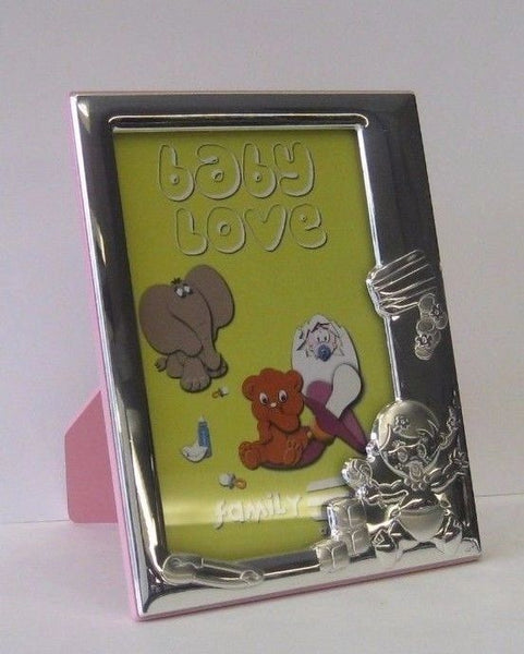 ITALIAN 925 STERLING SILVER ADORABLE BABY PINK KIDS PICTURE FRAME