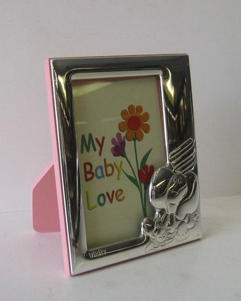 ITALIAN 925 SILVER PINK ADORABLE BABY ELEPHANT KIDS PICTURE FRAME