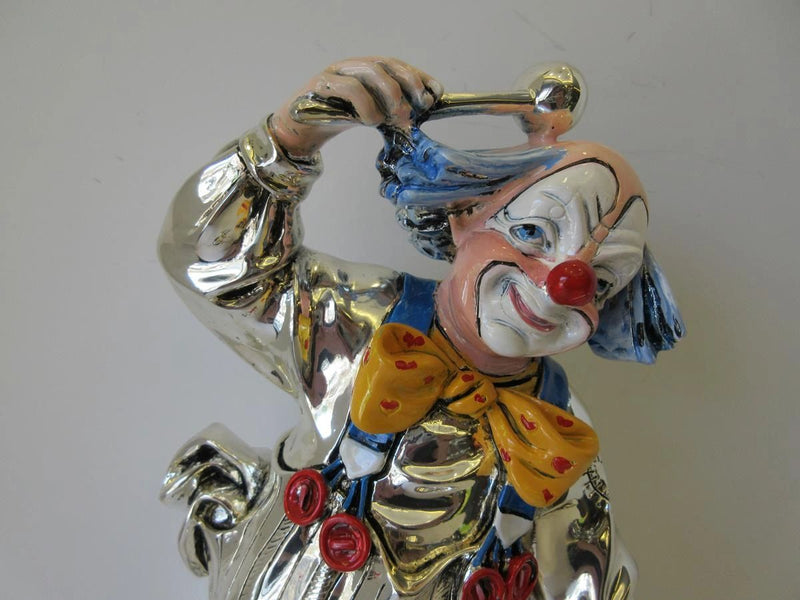 FINE ITALIAN SILVER PLATED & ENAMEL HANDCRAFTED MUSIC DRUM CLOWN FIGURINE
