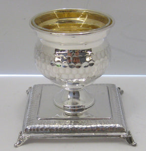 925 STERLING SILVER HANDMADE GLOSSY HAMMERED SINGLE SALT HOLDER SQUARE STAND