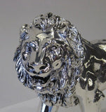 SMALL ITALIAN SILVER PLATED HANDCRAFTED DETAIL FIERCE LION KING FIGURINE