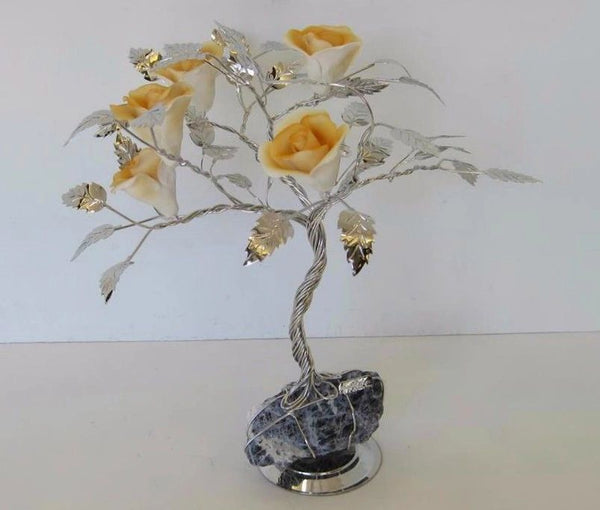 ITALIAN SILVER PLATED & PAINTED PORCELAIN ORANGE ROSE FLOWER TREE & ROCK