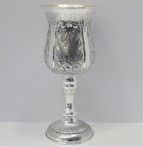 LARGE 925 STERLING SILVER & GILDED HANDCRAFTED SWIRL EMBOSSED PASSOVER CUP