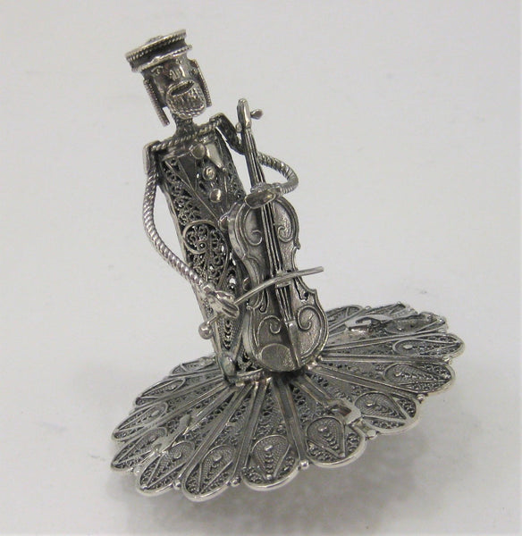 925 STERLING SILVER HANDMADE ORNATE FILIGREE DREIDEL WITH MUSICIAN SHAPED HANDLE