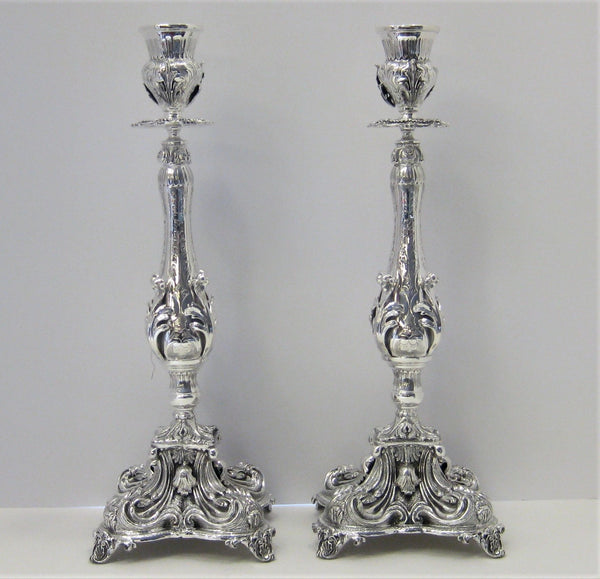 925 STERLING SILVER HANDCRAFTED HEAVY ORNATE SWIRL SHELL DESIGN CANDLESTICKS