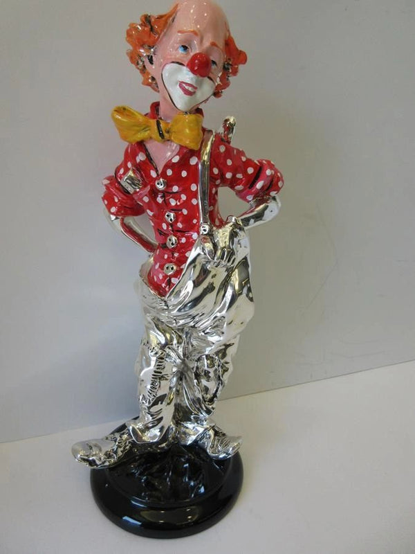 ITALIAN SILVER PLATED & COLORED ENAMEL HAPPY CLOWN HIDING CLARINET FIGURINE