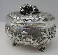 ITALY 925 STERLING SILVER LARGE DETAILED FLOWER LEAF ORNATE ESROG JEWELRY BOX