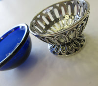 ITALY 925 STERLING SILVER & BLUE GLASS INTRICATE ROPE FLORAL ROUND SALT HOLDER