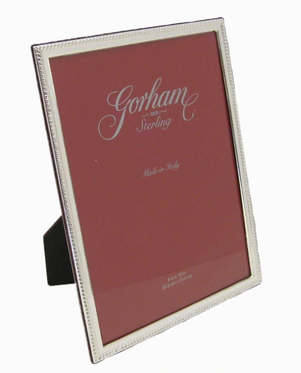 ITALIAN SILVER LAMINATE GLOSSY ELEGANT ROPE BORDER 8 X 10 PICTURE PHOTO FRAME
