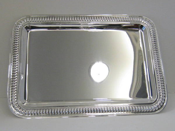 ITALIAN 925 STERLING SILVER HAND WROUGHT ELEGANT PEARL BORDER RECTANGULAR TRAY