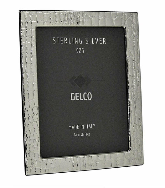 Gelco Italian 925 Sterling Silver & Wooden Leather Design Picture Frame