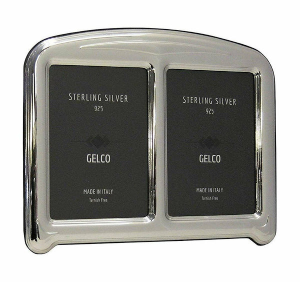 Italian 925 Sterling Silver & Wooden Glossy 4x6 Double Picture Frame