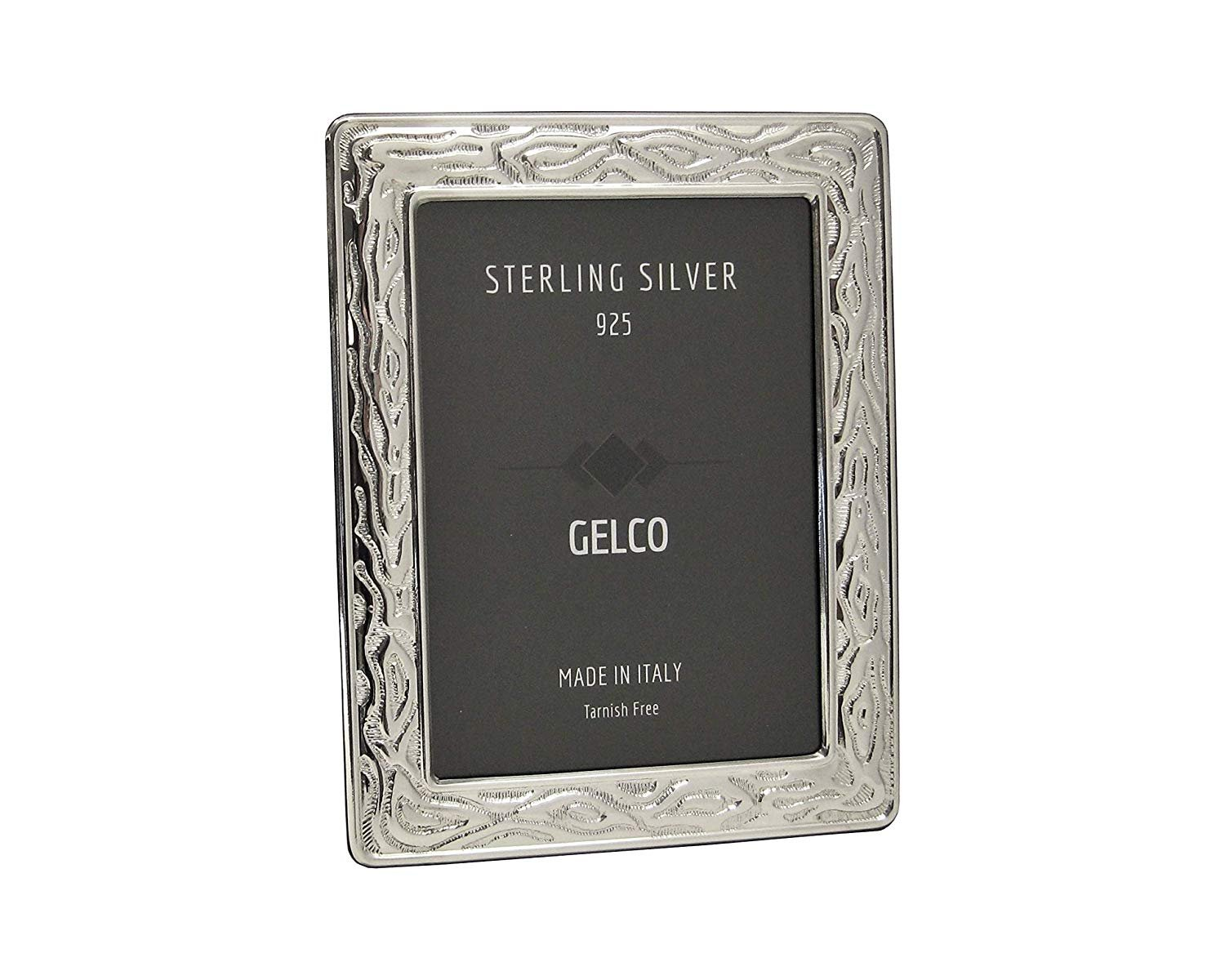 Gelco Italian 925 Sterling Silver & Wooden Texture Design Picture Frame (5x7)