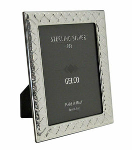 Gelco Italian 925 Sterling Silver 5X7 Hearts Picture Frame