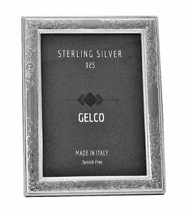Italian 925 Sterling Silver Hand Chased Glossy Floral Picture Frame
