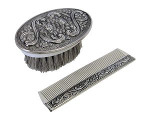 925 Sterling Silver Boy's Comb & Brush Set with Blue Felt Gift Box