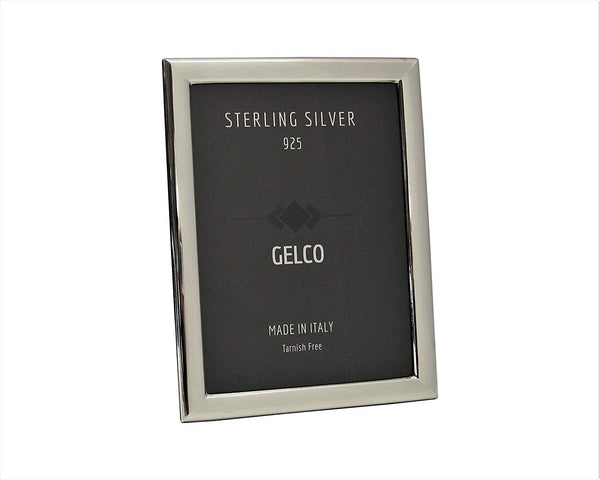 Gelco Italian 925 Sterling Silver & Wooden Back Sleek 5x7 Picture Frame