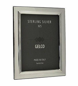Italian 925 Sterling Silver & Wooden Glossy Classic Border Picture Frame (5x7)