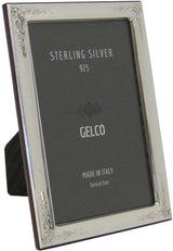 Gelco FINE Italian 925 Sterling Silver Picture Frame with Floral Embossed Corners