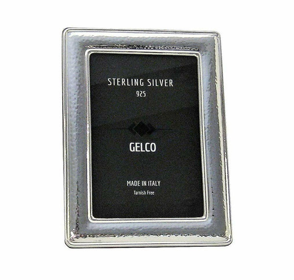 Italian 925 Sterling Silver Handmade Glossy Hammered Picture Frame