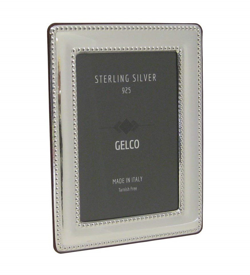 Italian 925 Sterling Silver Handmade Glossy Double Pearl Border Picture Frame