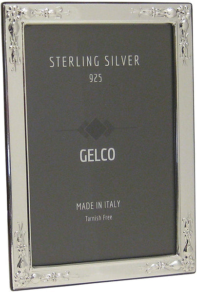 Gelco Italian 925 Sterling Silver Picture Frame with Flower Embossed Corners (4x6)