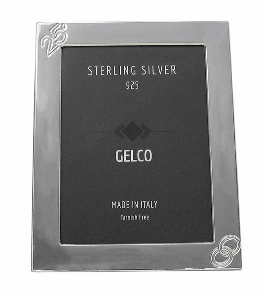 Fine Gelco Italian 925 Sterling Silver 25th Anniversary Picture Frame
