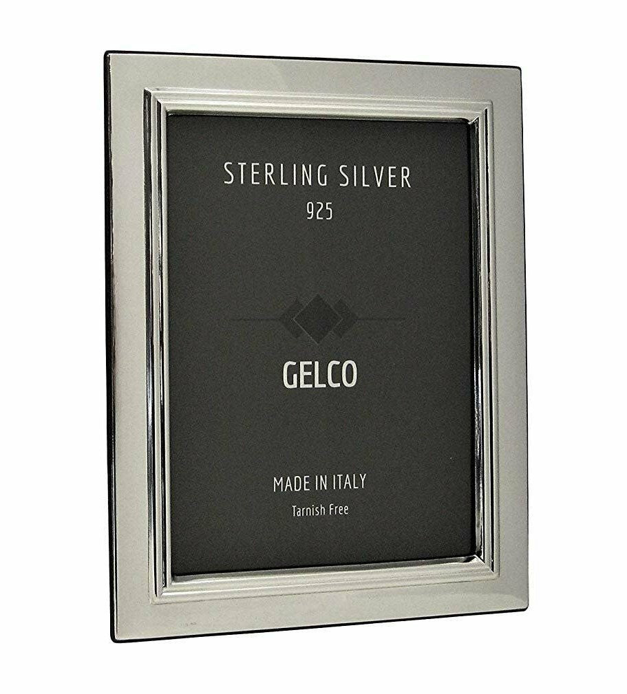 Italian 925 Sterling Silver & Wooden Glossy Classic Border Picture Frame (4x6)
