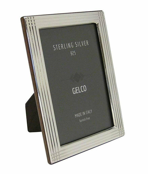 Italian 925 Sterling Silver & Wooden Back Glossy Striated Border Picture Frame