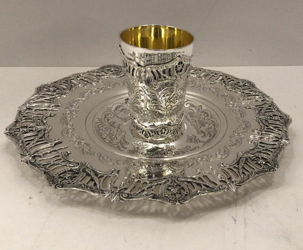 925 STERLING SILVER & GILDED HANDMADE CHASED CUT OUT SHINY CUP & TRAY