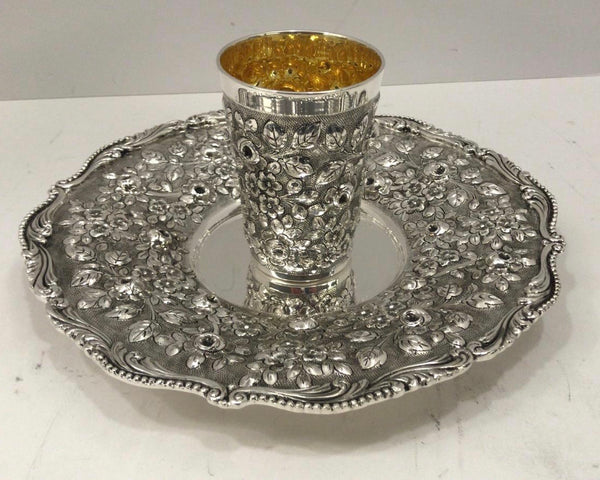 925 STERLING SILVER & GILDED HANDMADE HEAVY FLORAL CHASED MATTE & SHINY CUP & TRAY