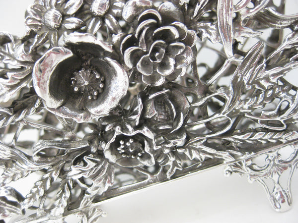 ITALIAN 925 STERLING SILVER HANDMADE LARGE ORNATE 3D FLORAL NAPKIN HOLDER