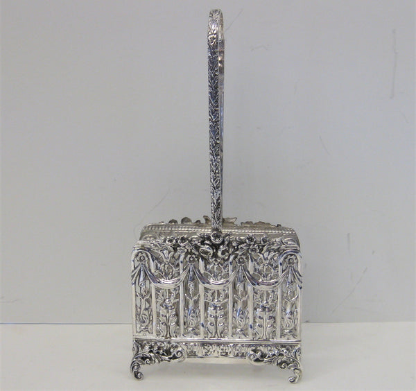 925 STERLING SILVER HANDCRAFTED FLORAL PIERCED DESIGN NAPKIN HOLDER WITH HANDLE
