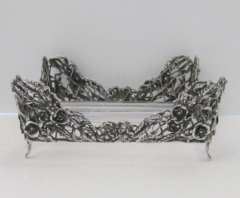 ITALIAN 925 STERLING SILVER HANDMADE ORNATE FLORAL DESIGN SQUARE NAPKIN HOLDER