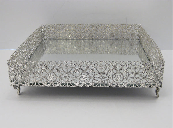 925 STERLING SILVER ITALIAN HANDCRAFTED FILIGREE FLAT SQUARE NAPKIN HOLDER