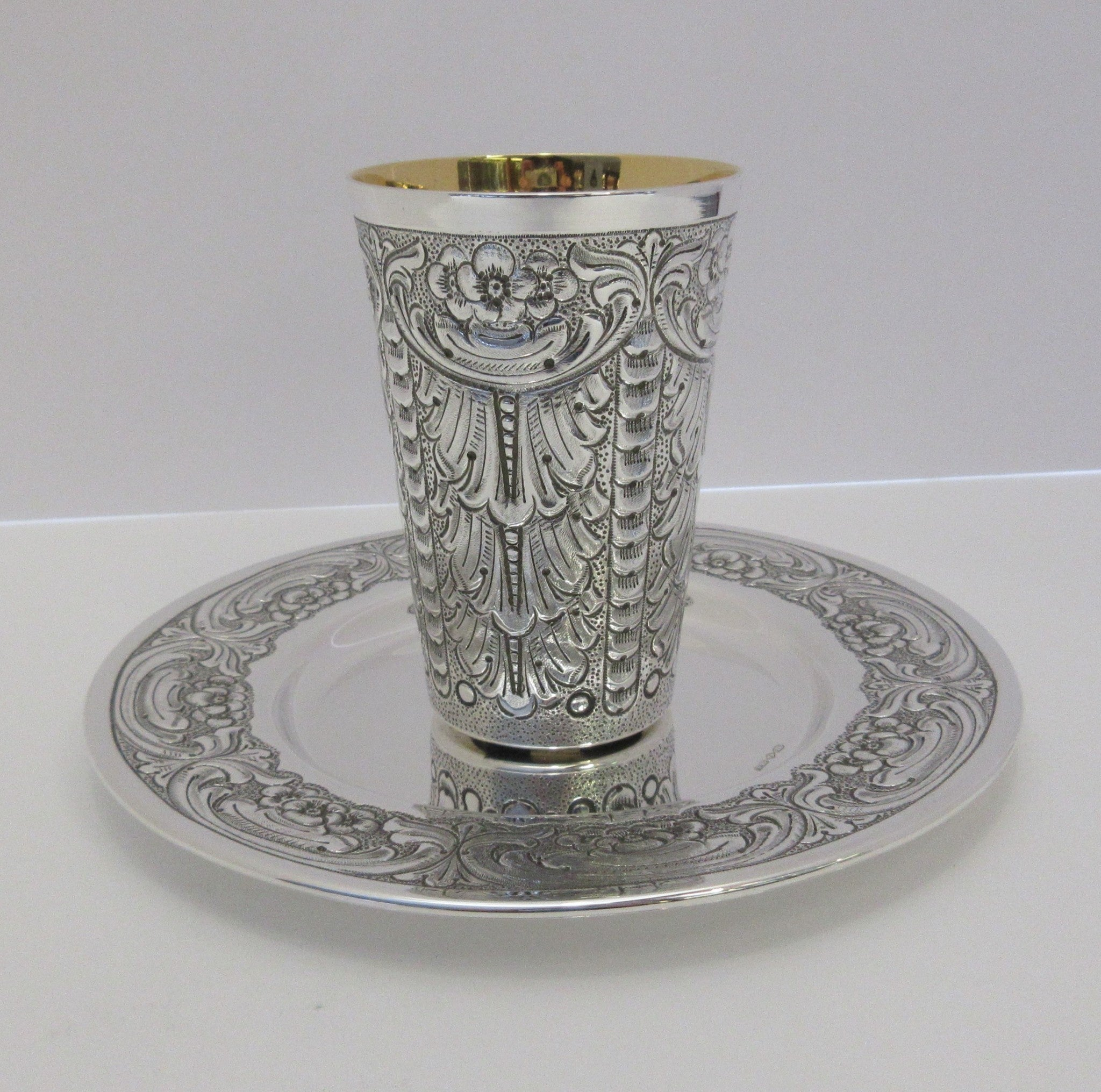 ITALY 925 STERLING SILVER HANDMADE LEAF FLOWER ORNATE MATTE & SHINY CUP & TRAY