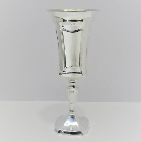 FINE TALL 925 STERLING SILVER HANDMADE SHINY SLEEK FLUTED MODERN CUP ON STEM