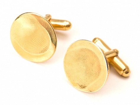 <span>Custom Gold</span> Fingerprint Cufflinks