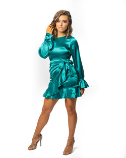 Satin Frill Wrap Mini Dress