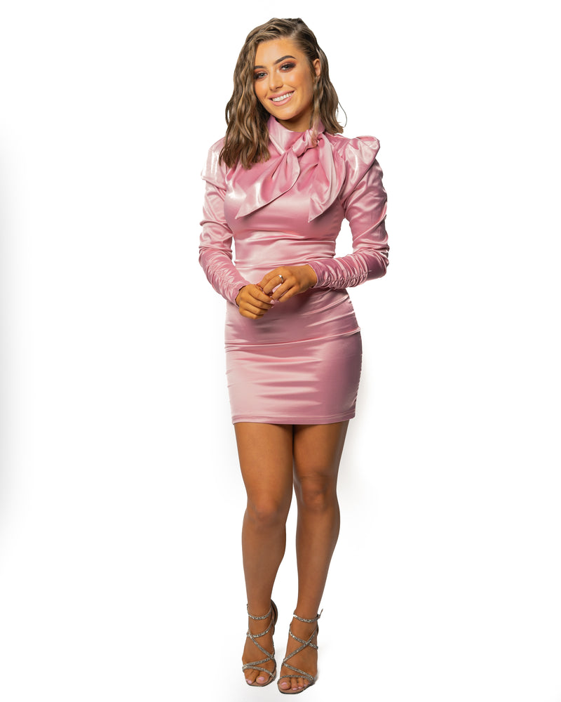 Pink Satin Bow Long Sleeve Mini Dress