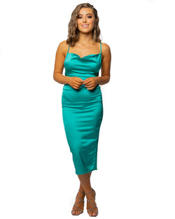 Jess Satin Cowl Neck Dress