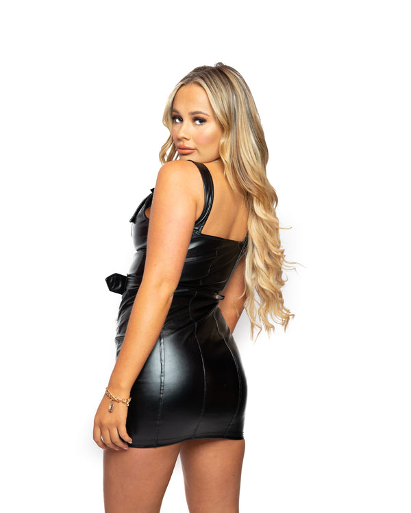Saffy T Leather Look Bodycon Mini Dress