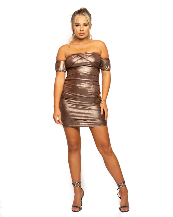 Saffy T Metallic Ruching Bardot Mini Dress