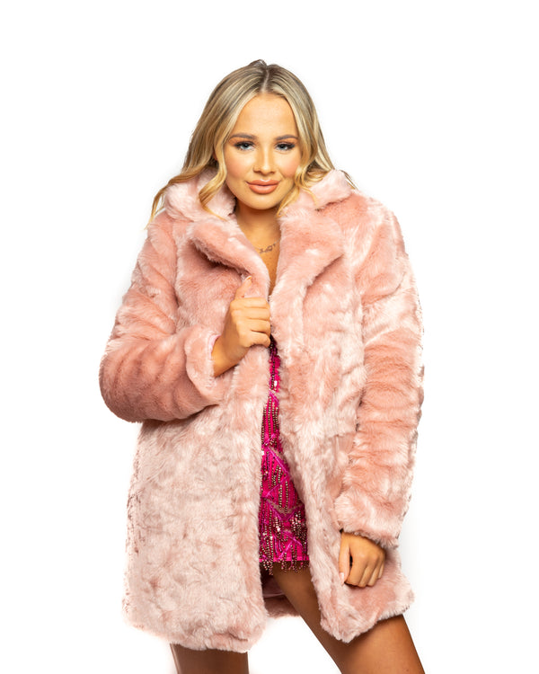 Saffy T Pink Faux Fur Coat
