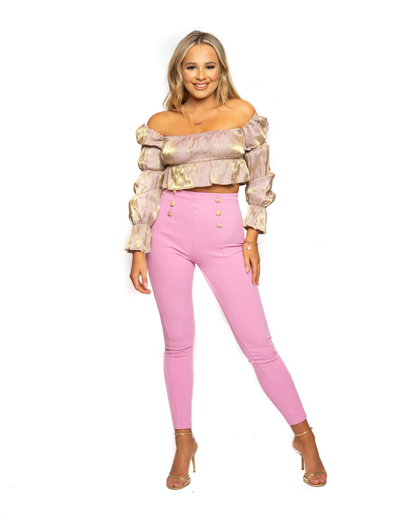 Saffy T Pink Gold Button Skinny Trousers